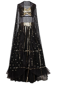 Black Embroidered Lehenga Skirt With Blouse & Cape by Mani Bhatia