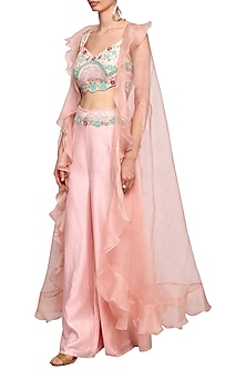Peach Pink Embroidered Crop Top With Pants & Cape by Mani Bhatia