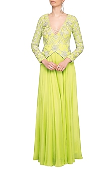 Lime Green Embroidered Peplum Anarkali Gown by Mani Bhatia