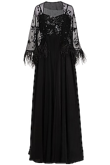 Black Embroidered Jumpsuit With Cape by Mani Bhatia
