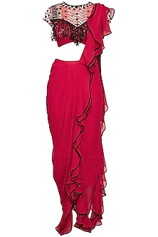 Red Embroidered Ruffled Drape Saree Set by Mani Bhatia