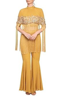 Mustard Yellow Embroidered Cape Top With Pants by Mani Bhatia