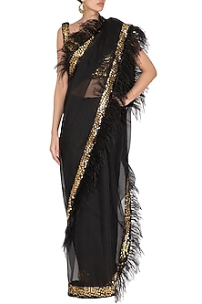 Black Embellished Saree Set by Mani Bhatia