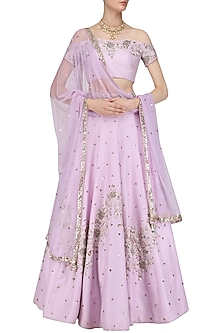Lavender Cutdana Embroidered Lehenga Set by Mani Bhatia