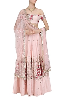 Pink Cutdana Embroidered Lehenga Set by Mani Bhatia