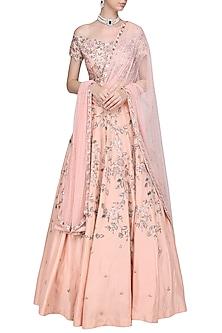 Pink Embroidered Lehenga Set by Mani Bhatia