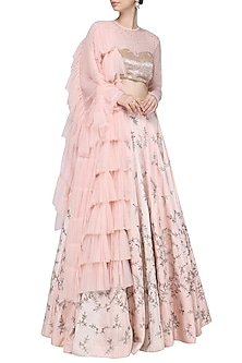Pink Embellished Lehenga Set by Mani Bhatia
