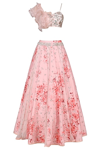 Rose Pink Ruffle Blouse with Printed Lehenga Skirt Set by Mani Bhatia