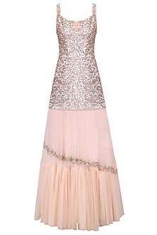 Powder Pink Embroidered Kurta with Lehenga Skirt Set by Mani Bhatia