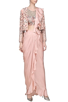 Dusty Pink and Beige Ruffle Embroidered Drape Saree with Jacket by Mani Bhatia