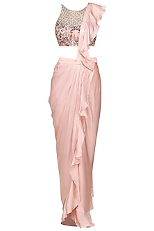 Dusty Pink and Beige Ruffle Embellished Drape Saree by Mani Bhatia