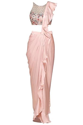 Dusty Pink and Beige Ruffle Embellished Drape Saree by Mani Bhatia