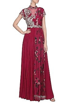 Sangria Pink Draped Anarkali with Belt by Mani Bhatia