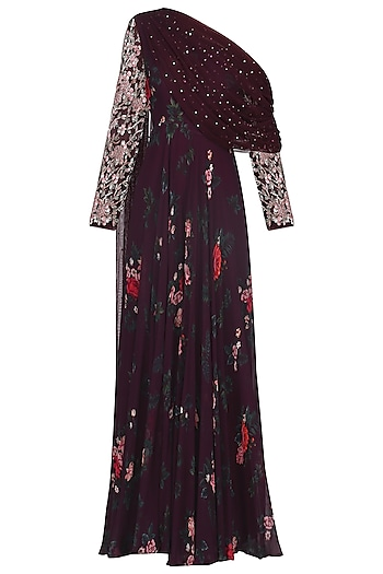 Deep burgundy one shoulder embroidered jumpsuit by Mani Bhatia