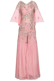 Pink Embellished Kurta with Sharara Pants Set by Mani Bhatia