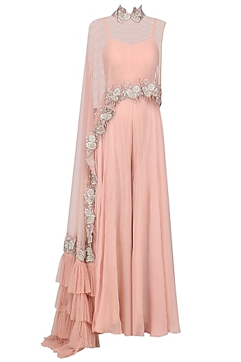 Tea Pink Jumpsuit with Ruffle Embroidered Cape by Mani Bhatia