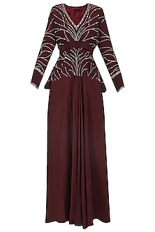 Deep Marsala Peplum Top with Drape Skirt by Mani Bhatia