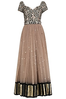Rose Gold Sequins Embroidered Anarkali Set by Mani Bhatia