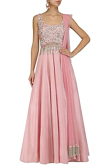 Pink Tassels and Embroidered Cutout Anarkali Set by Mani Bhatia