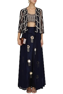 Midnight Blue Cutdana Work Blouse, Skirt and Cape Set by Mani Bhatia
