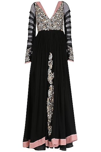 Black Sequins Embroidered Rouched Anarkali Set by Mani Bhatia