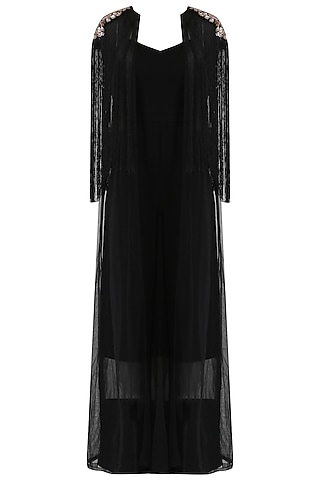 Black Jumpsuit and Embroidered Cape Set by Mani Bhatia