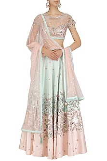 Pink and Aqua Green Mirror Embroidered Lehenga Set by Mani Bhatia