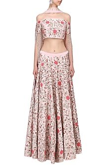 Pink floral embroidered lehenga set by Mani Bhatia