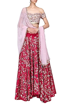 Pink and red embroidered lehenga set by Mani Bhatia