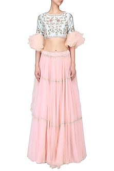 Aqua blue ruffled blouse with pink lehenga set by Mani Bhatia