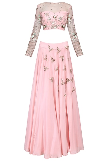 Jasmine pink embroidered lehenga set by Mani Bhatia