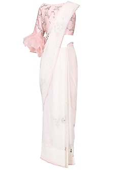 Ivory embroidered saree with pink blouse set by Mani Bhatia