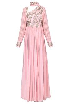 Pink rouched drape anarkali by Mani Bhatia
