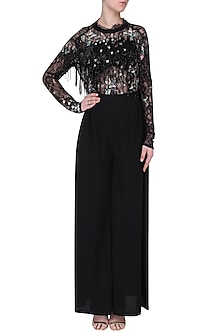 Black Embroidered Fringe Jumpsuit by Mani Bhatia