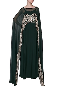 Dark Green Embroidered Cape Anarkali by Mani Bhatia