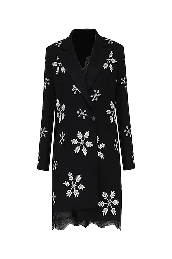 Black Embroidered Blazer and Slip Dress by Mani Bhatia