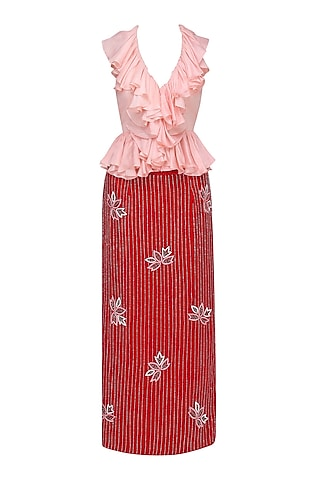 Baby Pink Ruffle Blouse and Red Velvet Skirt by Mani Bhatia
