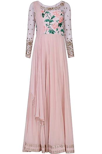 Pink Floral Embroidered Anarkali with Attached Drape by Mani Bhatia