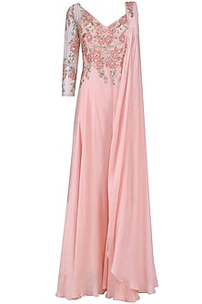 Baby Pink Floral Embroidered One Sleeved Jumpsuit by Mani Bhatia