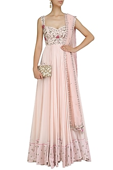 Pink Floral Embroidered Anarkali Set by Mani Bhatia