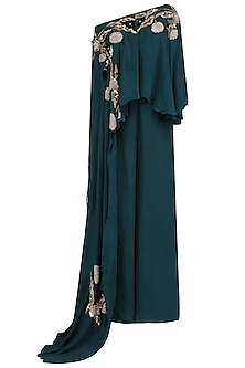 Teal Green Embroidered Cape and Palazzo Pants Set by Mani Bhatia
