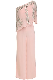 Pink Embroidered Cape and Palazzo Pants Set by Mani Bhatia