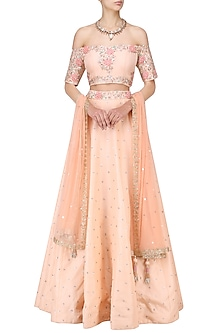 Peach Cutdana Embroidered Lehenga Set by Mani Bhatia
