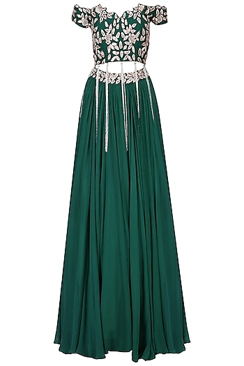 Emerald Green Mukaish Embroidered Lehenga Set by Mani Bhatia