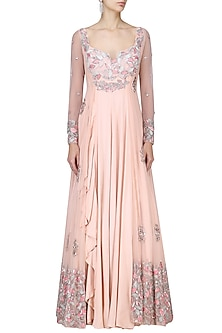Peach Cutdana and Zari Embroidered Anarkali with Net Jacket by Mani Bhatia