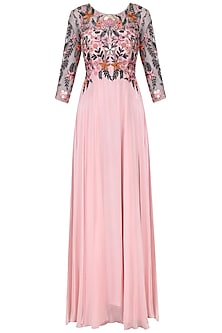 Baby Pink Resham Embroidered Anarkali Set by Mani Bhatia