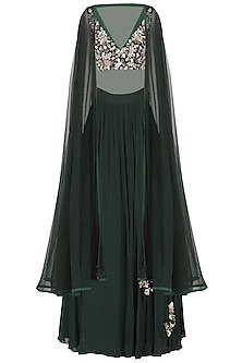 Dark Green Embroidered Lehenga with Cape Set by Mani Bhatia