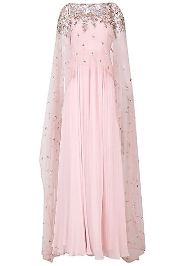 Ice Pink Pleated Anarkali with Embroidered Cape Set by Mani Bhatia