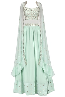 Pista Green Embroidered Lehenga With Cape Set by Mani Bhatia