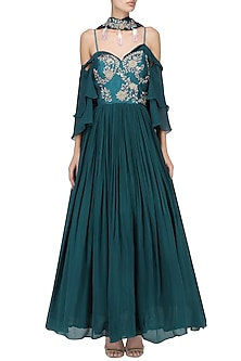 Teal Embroidered Anarkali Set by Mani Bhatia